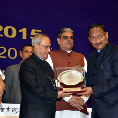 Receiving Rajbhasha Award from the President