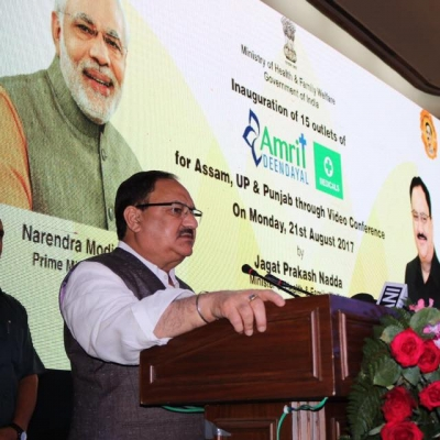 Union Minister of Health and Family Welfare Mr J P Nadda,  formally inaugurates 15 AMRIT pharmacies nationwide